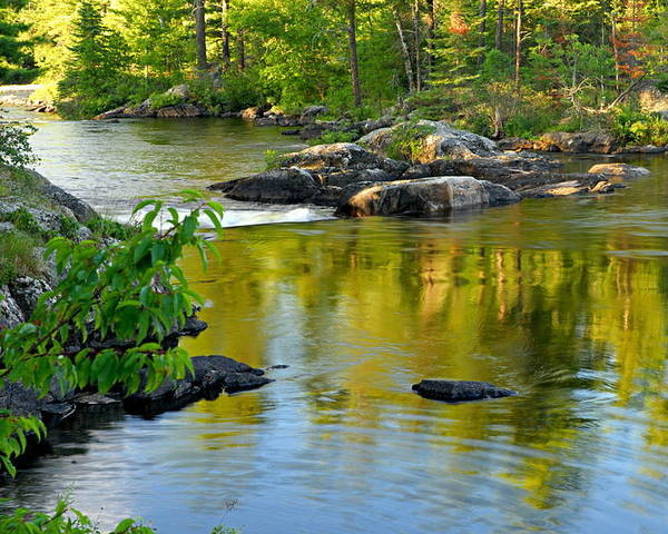 Boundary Waters Canoe Area Wilderness Poster featuring the photograph Evening Reflections At Lower Basswood Falls by Larry Ricker