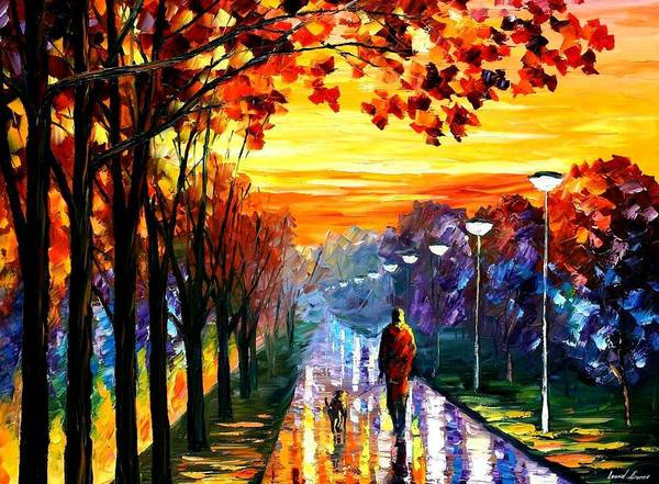 Afremov Poster featuring the painting Evening Stroll by Leonid Afremov