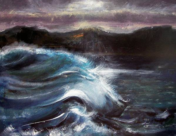 Waves Poster featuring the painting Evening Wave by Valerie Wolf
