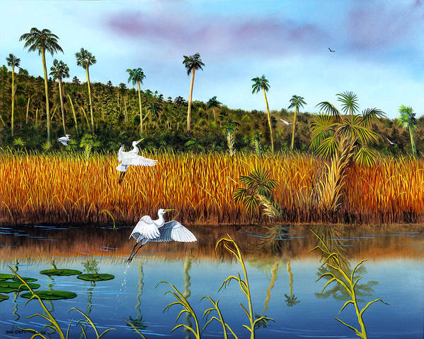 Landscape Poster featuring the painting Everglades Sanctuary by Don Griffiths