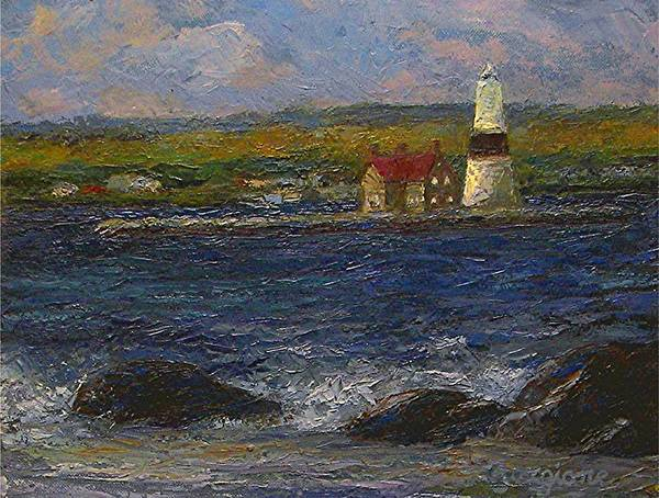 Lighthouse Poster featuring the painting Execution Lighthouse by Tom Forgione