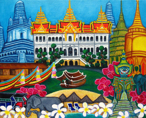 Bangkok Poster featuring the painting Exotic Bangkok by Lisa Lorenz