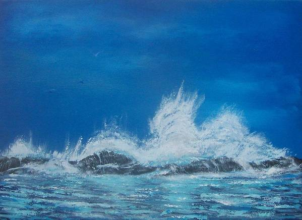 Seascape Poster featuring the painting Explosive Waves by Tony Rodriguez