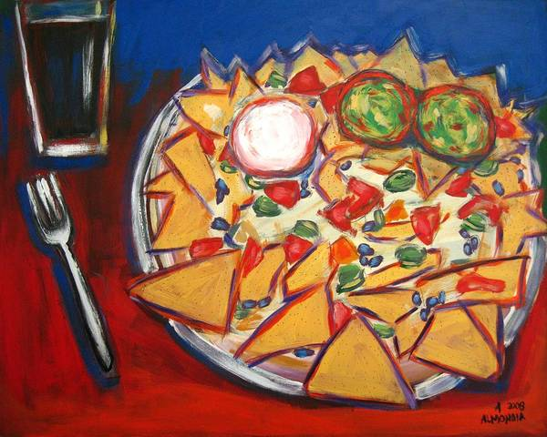 Food Poster featuring the painting Extra Guacamole by Albert Almondia