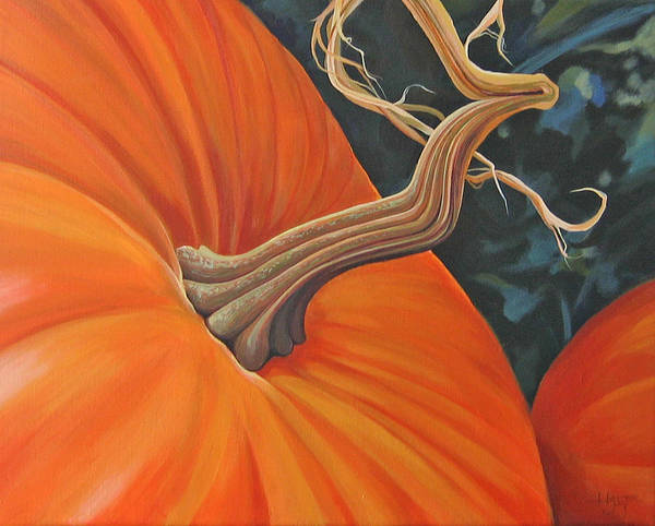 Closeup Of Pumpkin Poster featuring the painting Exuberant Pumpkin by Hunter Jay