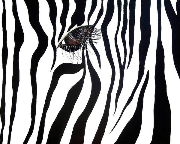 Zebra Poster featuring the painting Eye Spy by Sharon Supplee