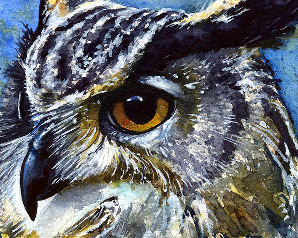 Owls Poster featuring the painting Eyes Of Owls No.25 by John D Benson