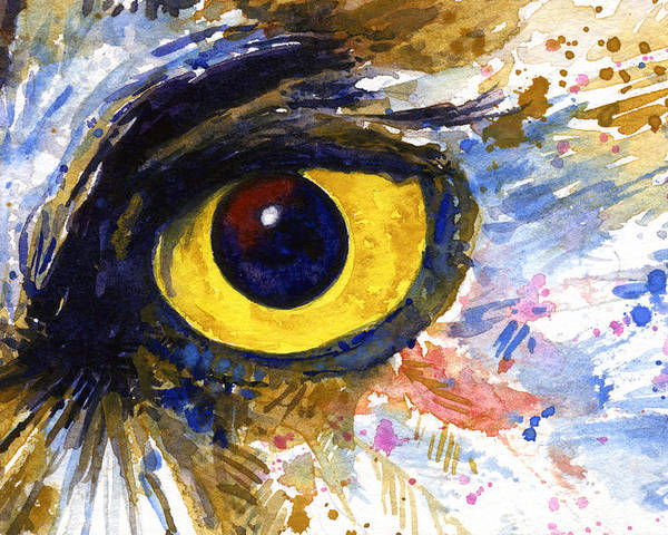 Owls Poster featuring the painting Eyes of Owl's No.6 by John D Benson