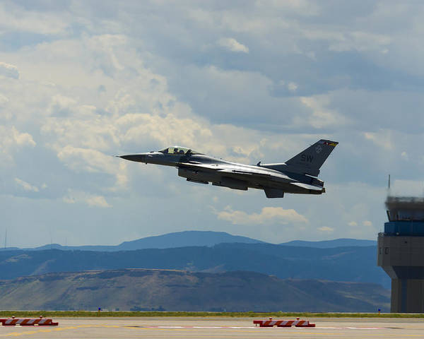 Poster featuring the photograph F-16 Tower by Brian Jordan