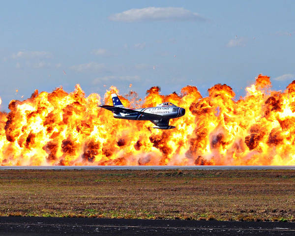 Fighter Poster featuring the photograph F-86 Wall Of Fire by Mark Weaver