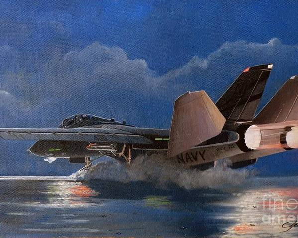 F14 Tomcat Carrier Launch Poster featuring the painting F14 Carrier Launch by Alan Pearson