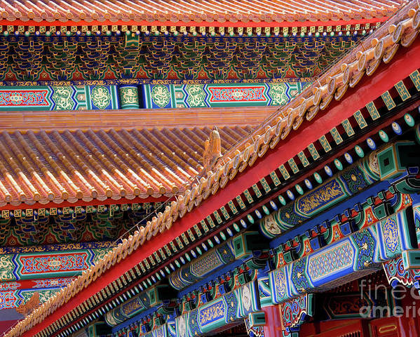 Architecture Poster featuring the photograph Facade Painting Inside The Forbidden City In Beijing by Julia Hiebaum