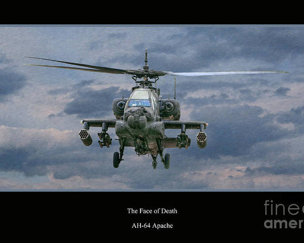 Apache Sunset Poster featuring the digital art Face Of Death Ah-64 Apache Helicopter by Randy Steele