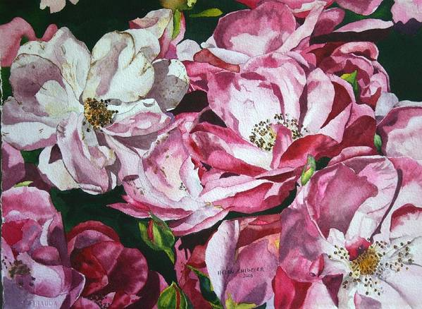 Floral Poster featuring the painting Fading Blooms by Helen Shideler
