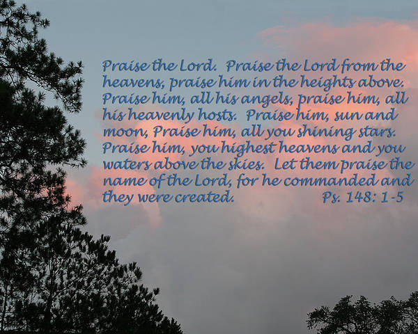 Scripture Poster featuring the photograph Fading Sunset Ps.148 V 1-5 by Linda Phelps