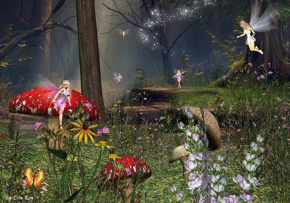 Fairy Fae Fairies Fantasy Magic Poster featuring the digital art Fairy Night by Lisa Roy