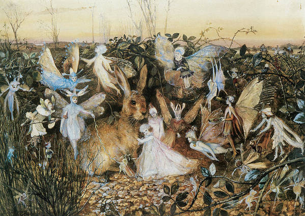 John Anster Fitzgerald Poster featuring the painting Fairy Twilight by John Anster Fitzgerald