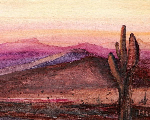 Desert Cactus Orange Pink Dusk Sunset Poster featuring the painting Faithful Old Sentinel by Marsha Woods