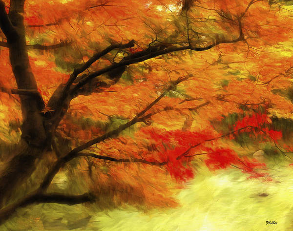 Fall Autumn Leaves Temple Pond Impressionist Poster featuring the digital art Fall At The Temple by Brandon Hunter