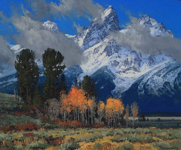 Landscape Poster featuring the painting Fall Crescendo by Lanny Grant