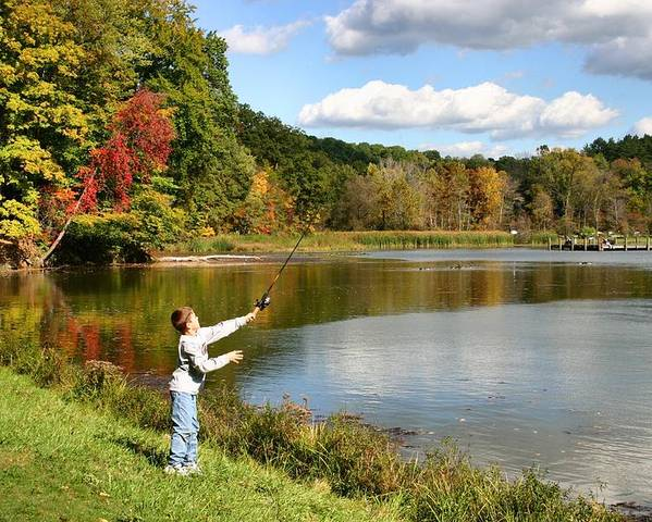 Fishing Poster featuring the photograph Fall Fishing by Kristin Elmquist