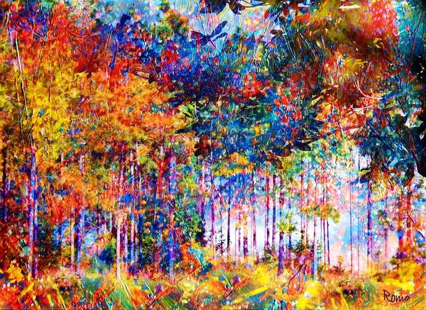 Abstract Landscape Poster featuring the mixed media Fall by Robin Monroe