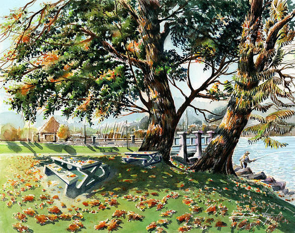 Landscape Poster featuring the painting Fall Shapes Roky Point Park by Dumitru Barliga