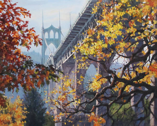 Portland Poster featuring the painting Fall St Johns by Karen Ilari
