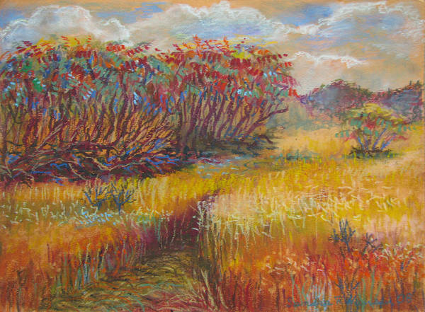 Fall Poster featuring the painting Fall Sumac Fields by Art Nomad Sandra Hansen