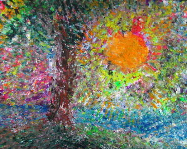 Playful Poster featuring the painting Fall Sun by Jacqueline Athmann