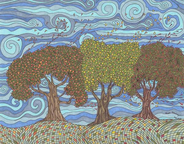 Fall Poster featuring the drawing Fall Winds by Pamela Schiermeyer