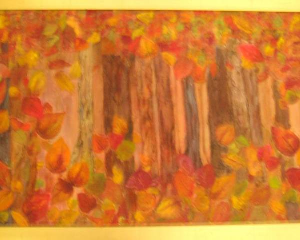 Fall Colors Poster featuring the mixed media Falling Leaves by Sheryl Sutherland