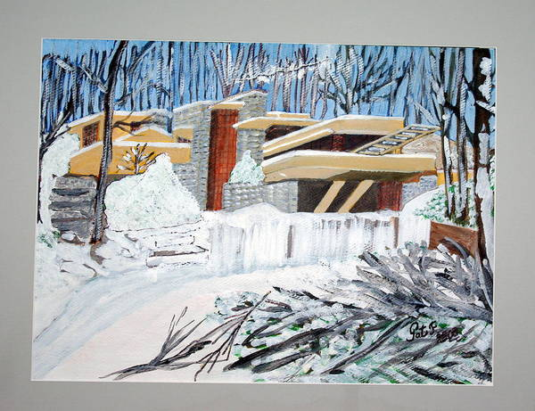 Franklloyd Wright Fallingwater Poster featuring the painting Fallingwater by Patricia Fragola