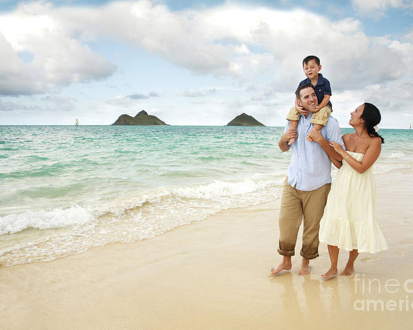 Affection Poster featuring the photograph Family At Lanikai I by Brandon Tabiolo - Printscapes