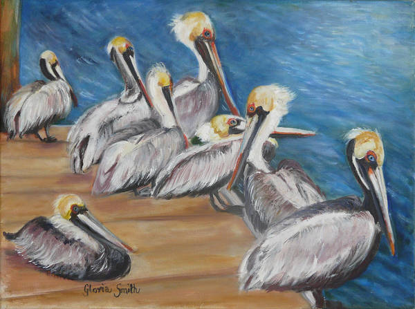 Pelicans Poster featuring the painting Family Meeting by Gloria Smith