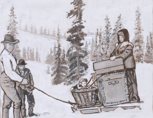 Historical Poster featuring the painting Family Moving With Sled Historical Vignette by Dawn Senior-Trask