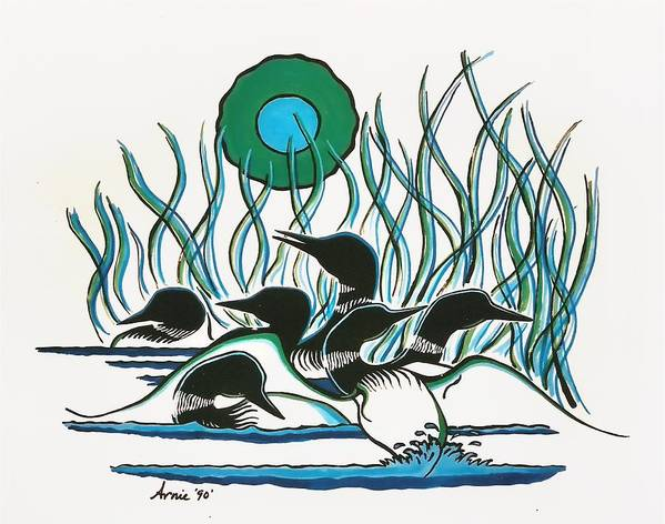 Nature Poster featuring the painting Family Of Loons by Arnold Isbister