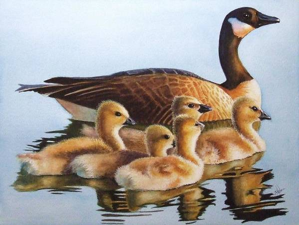 Geese Poster featuring the painting Family Time by Greg and Linda Halom