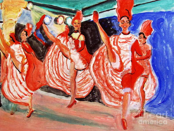Famous French Cancan Poster featuring the painting Famous French Cancan by Stanley Morganstein