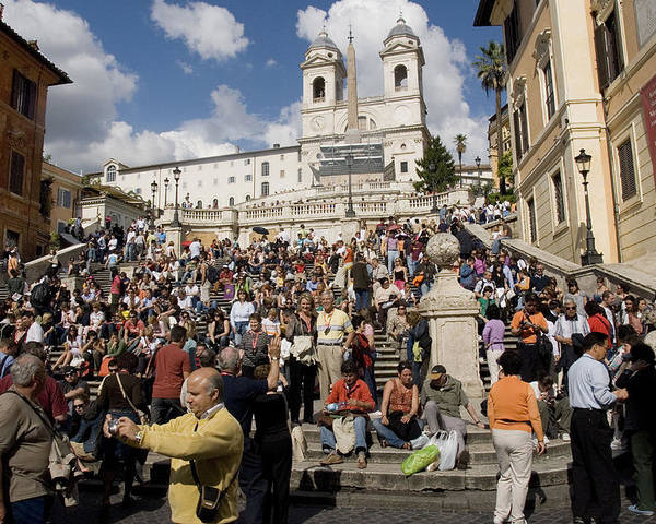 Spanish Steps Poster featuring the photograph Famoust Spanish Steps In Rome by Charles Ridgway