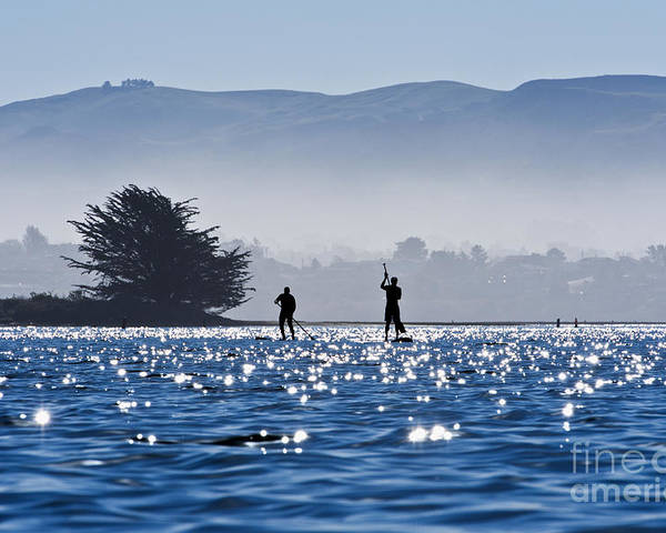 Active Poster featuring the photograph Faraway Paddle Boarders In Morro Bay by Bill Brennan - Printscapes