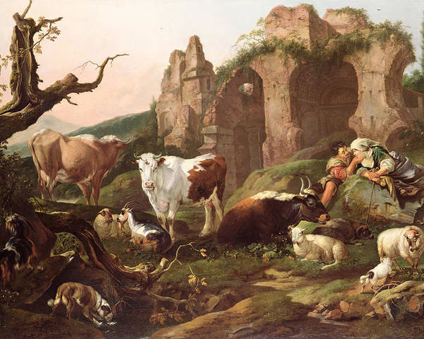 Farm Poster featuring the painting Farm Animals In A Landscape by Johann Heinrich Roos