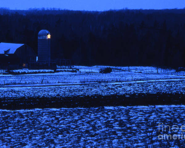 Barn Poster featuring the photograph Farm At Christmas by Timothy Johnson