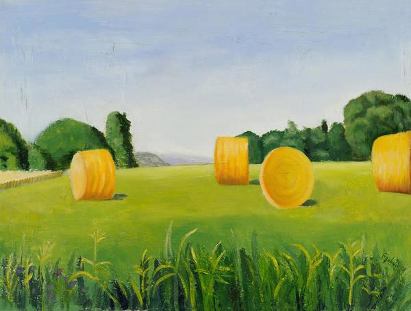 Farm Scene Poster featuring the painting Farm Bales by Gloria Cigolini-DePietro