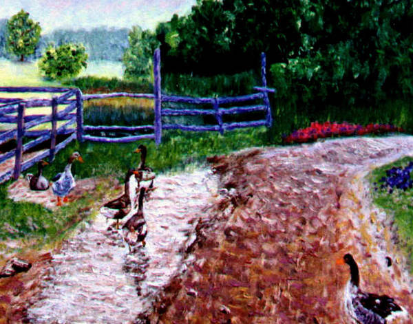 Farm Geese Poster featuring the painting Farm Geese by Stan Hamilton