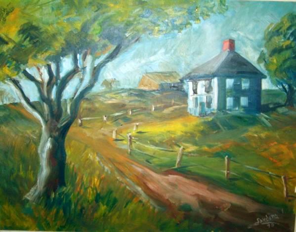 Landscape Farm House Poster featuring the painting Farm In Gorham by Joseph Sandora Jr