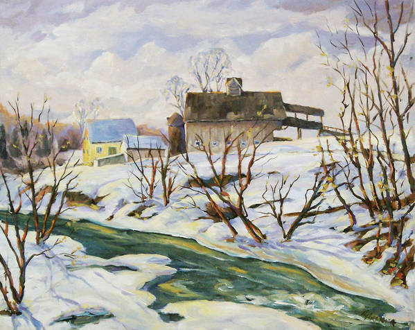 Farm Poster featuring the painting Farm In Winter by Richard T Pranke