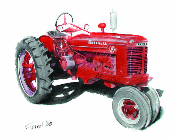 Farmall Poster featuring the painting Farmall Tractor by Ferrel Cordle