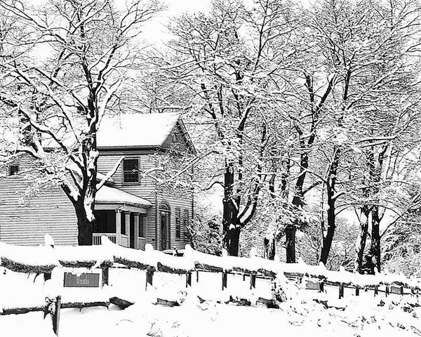 Blizzard Poster featuring the photograph Farmhouse In Winter by Roger Soule