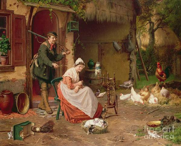 Farmyard Poster featuring the painting Farmyard Scene by Jan David Cole